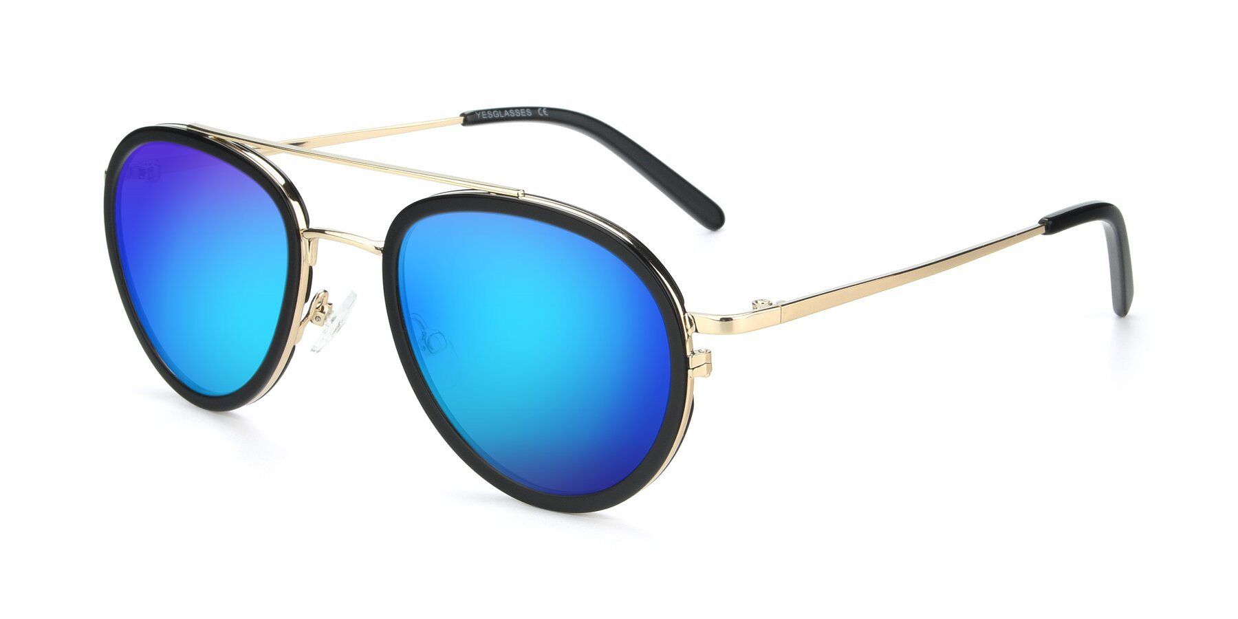 Angle of 9554 in Black-Gold with Blue Mirrored Lenses