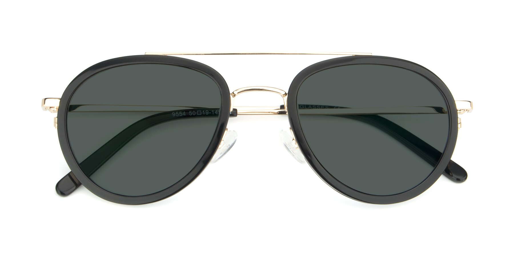 Folded Front of 9554 in Black-Gold with Gray Polarized Lenses