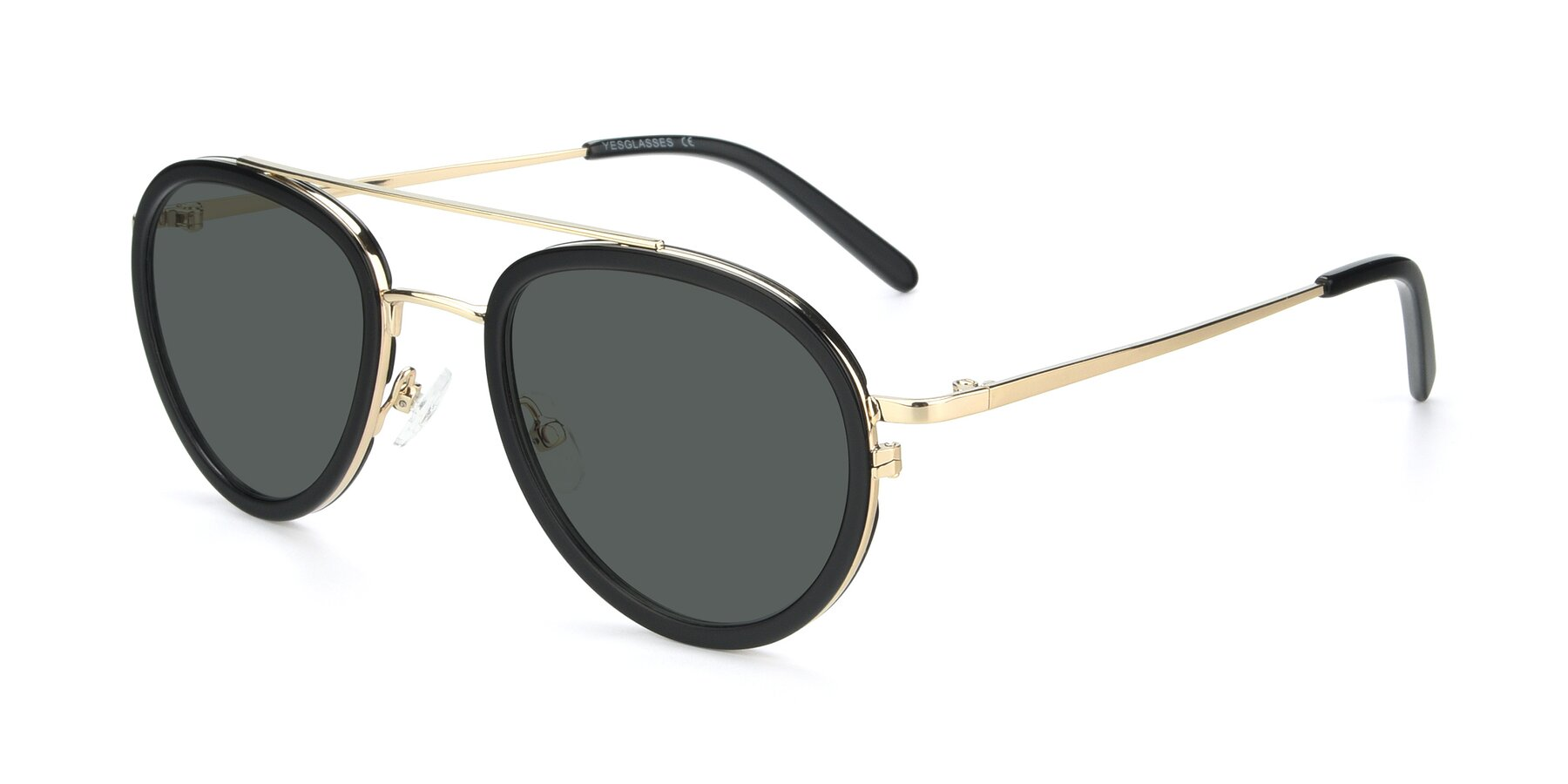 Angle of 9554 in Black-Gold with Gray Polarized Lenses
