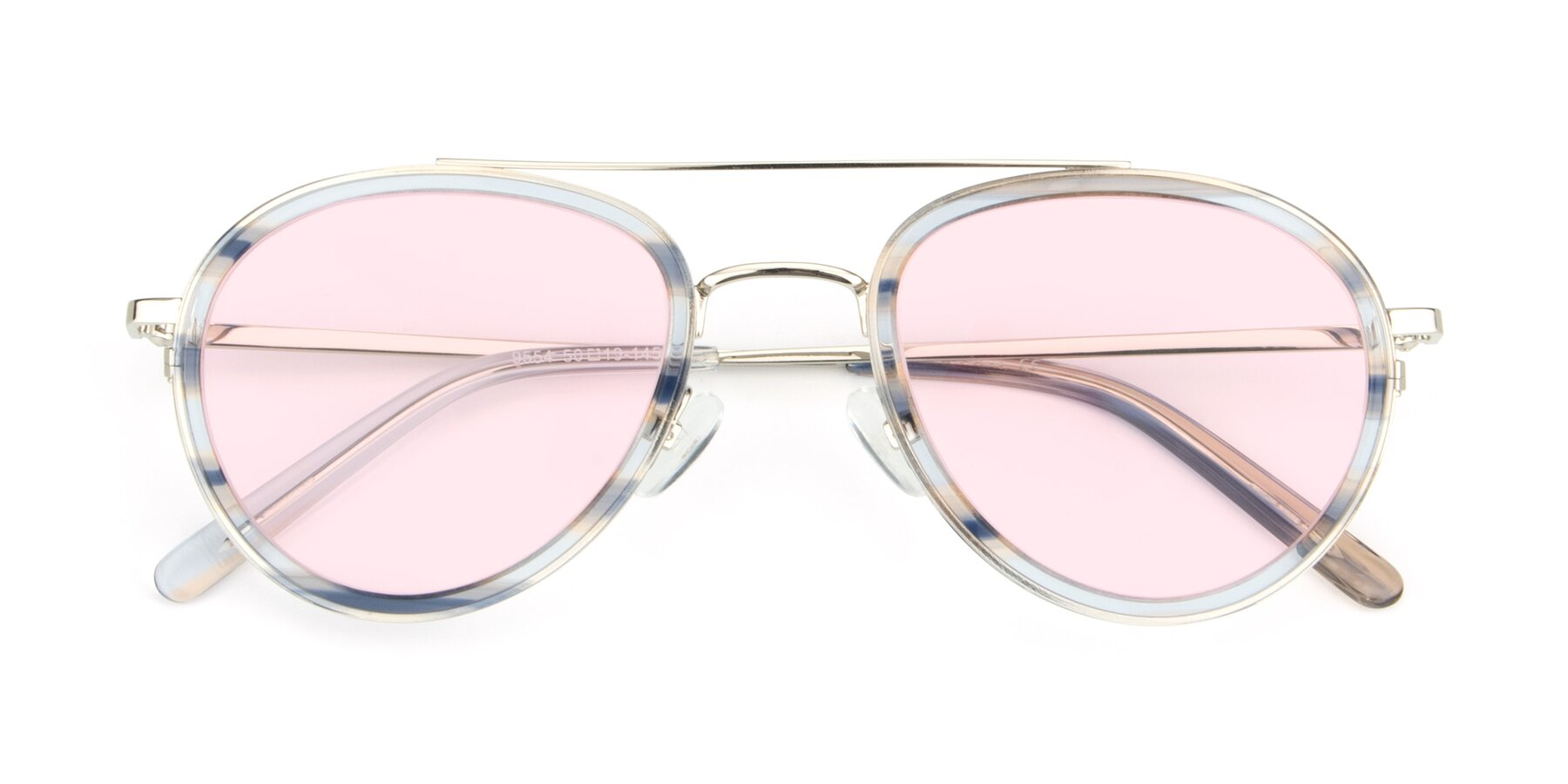 Folded Front of 9554 in Silver-Transparent with Light Pink Tinted Lenses