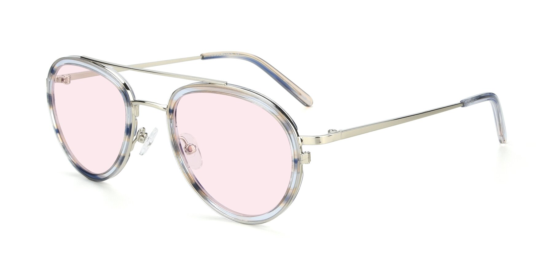 Angle of 9554 in Silver-Transparent with Light Pink Tinted Lenses