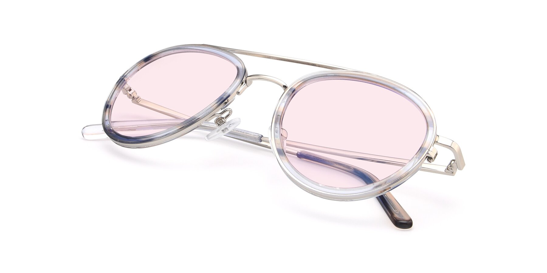 View of 9554 in Silver-Transparent with Light Pink Tinted Lenses