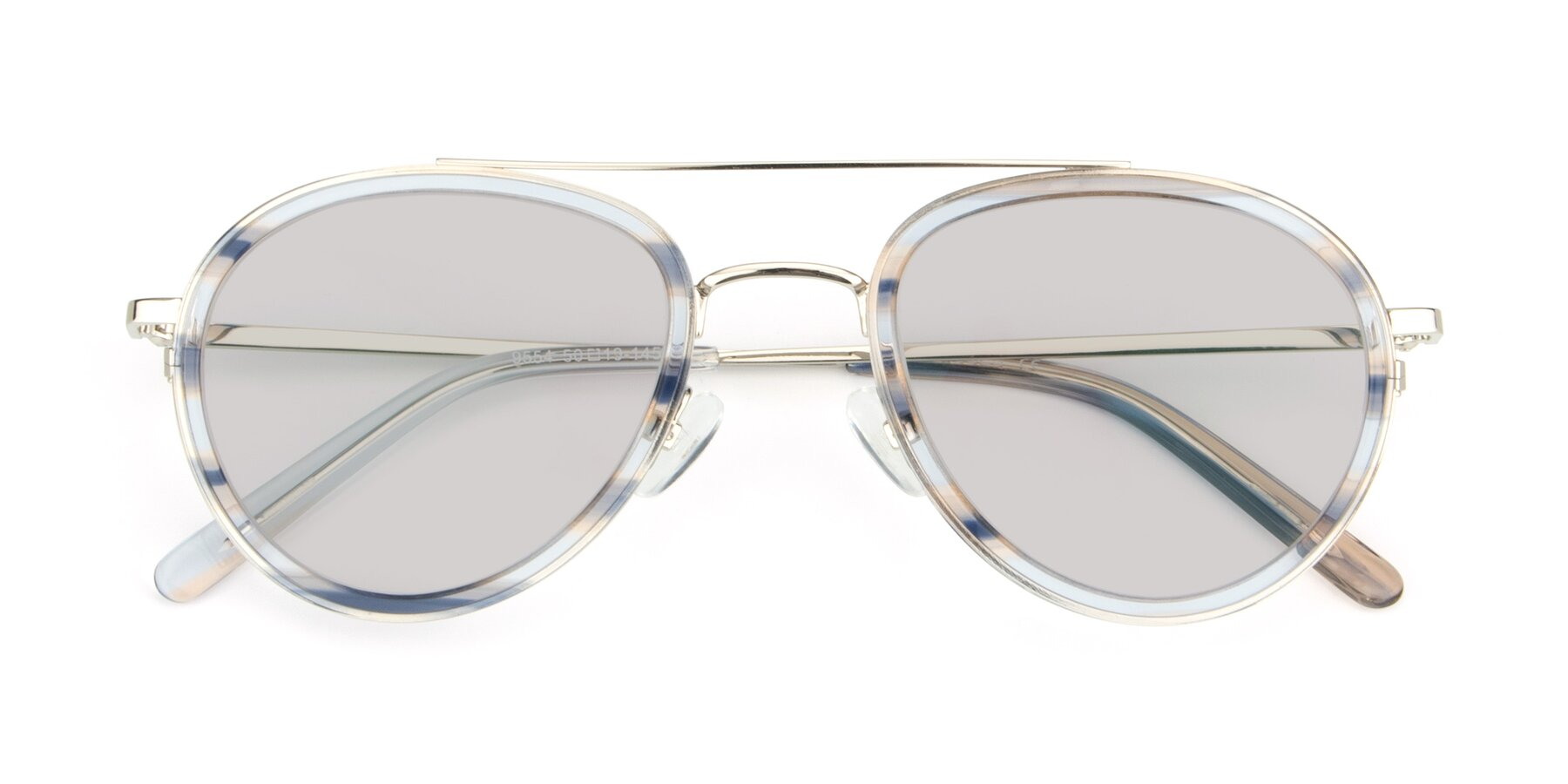 Folded Front of 9554 in Silver-Transparent with Light Gray Tinted Lenses