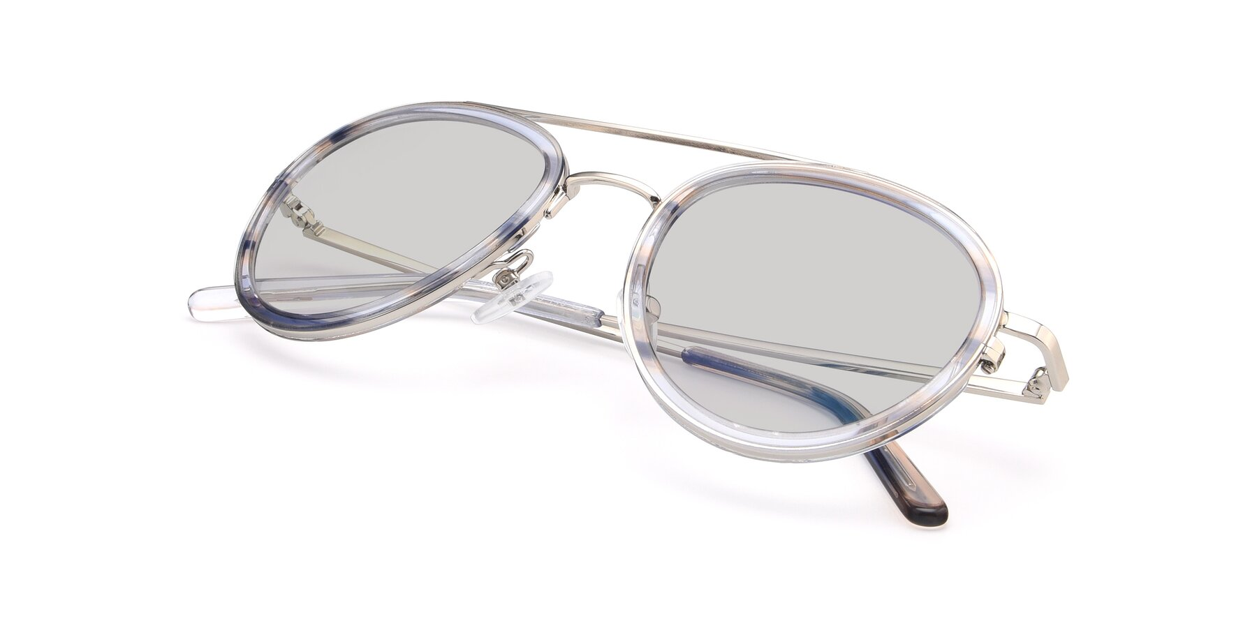 View of 9554 in Silver-Transparent with Light Gray Tinted Lenses