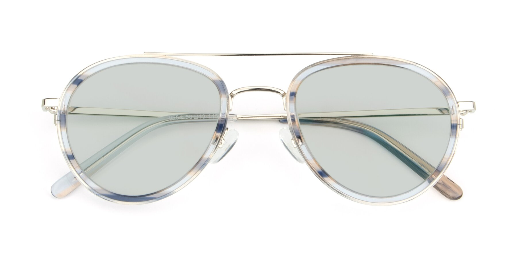 Folded Front of 9554 in Silver-Transparent with Light Green Tinted Lenses