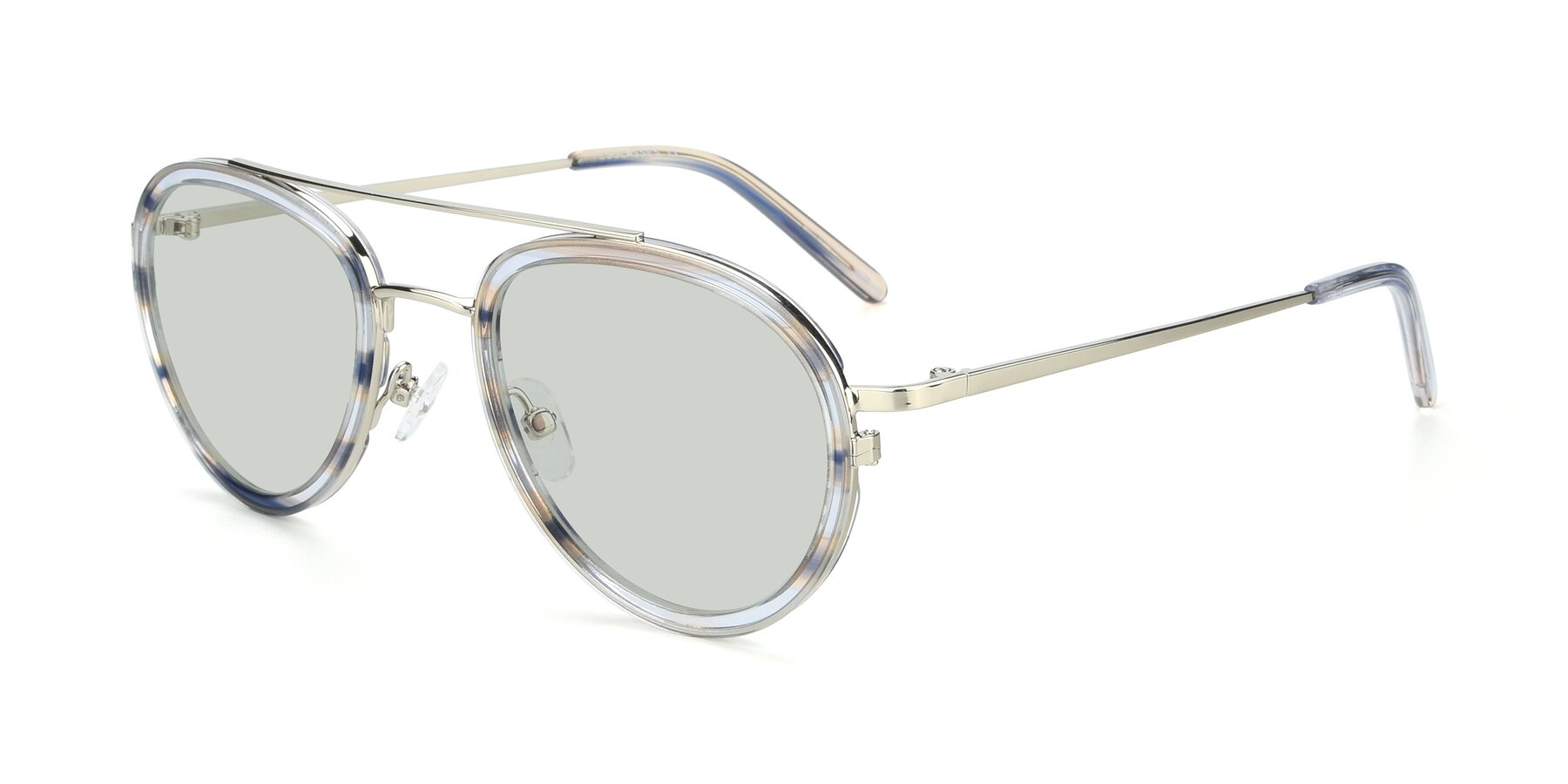 Angle of 9554 in Silver-Transparent with Light Green Tinted Lenses