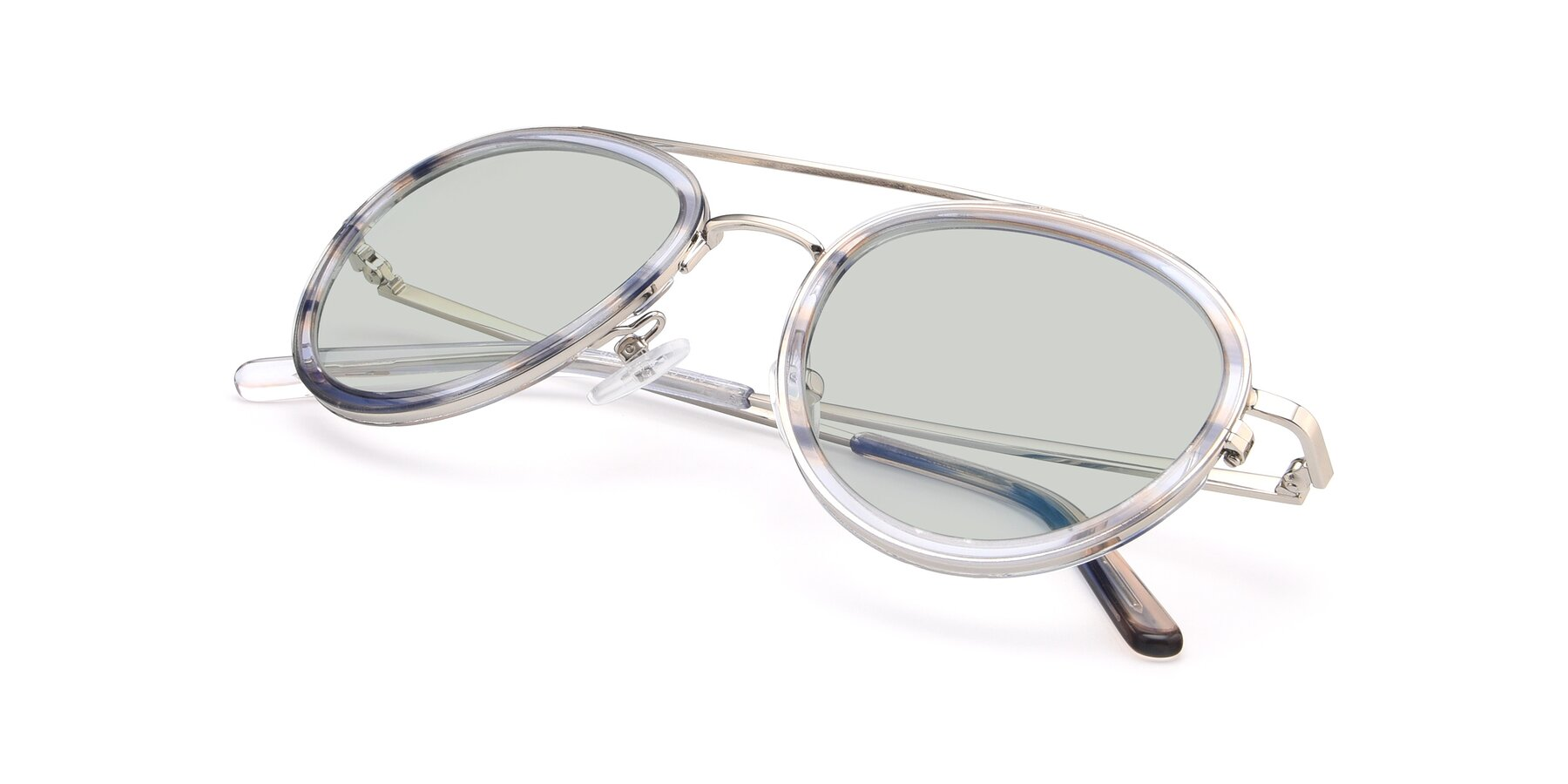 View of 9554 in Silver-Transparent with Light Green Tinted Lenses