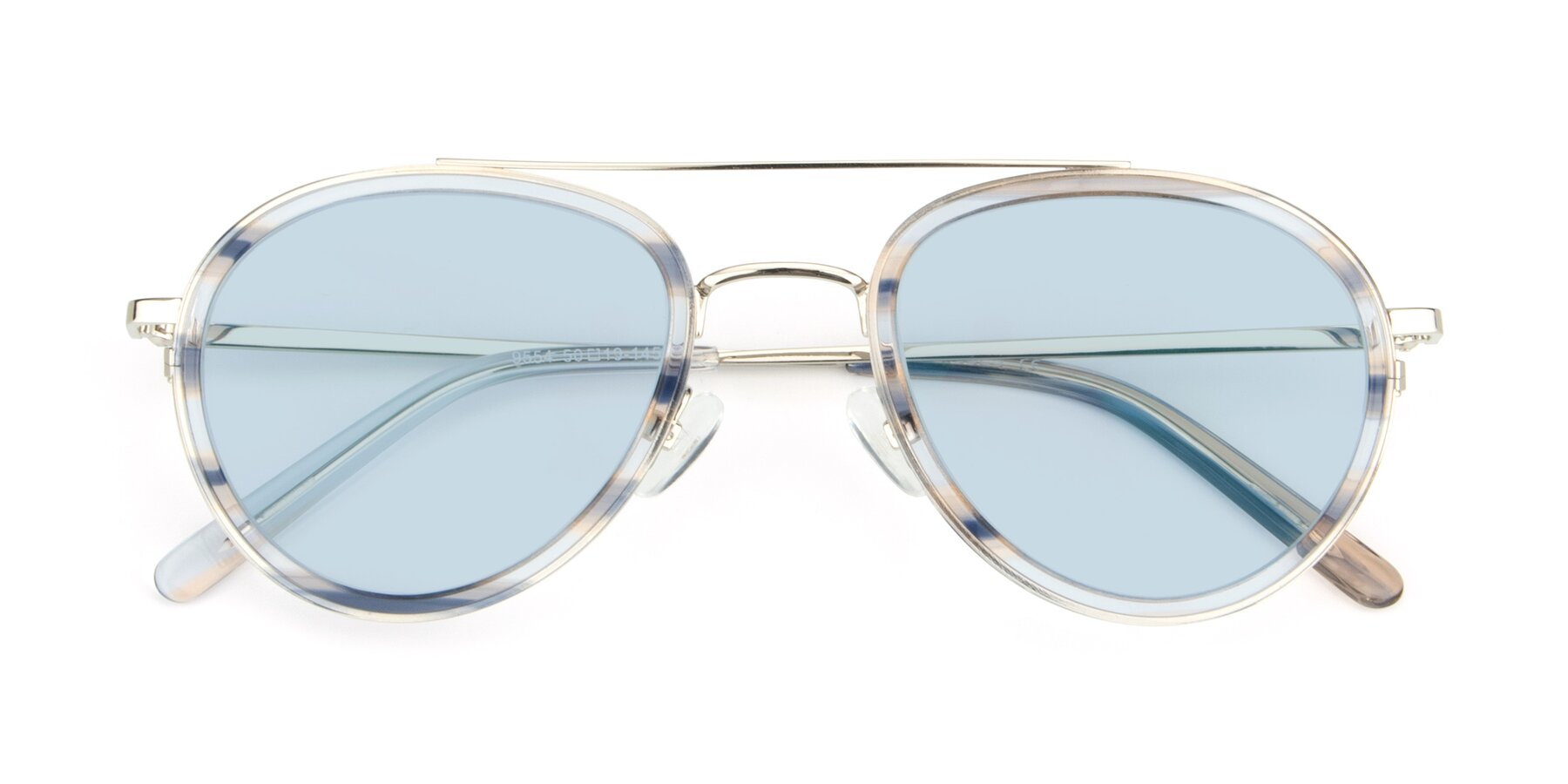 Folded Front of 9554 in Silver-Transparent with Light Blue Tinted Lenses