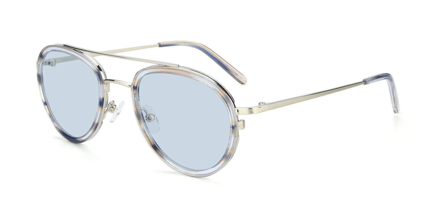 Angle of 9554 in Silver-Transparent with Light Blue Tinted Lenses