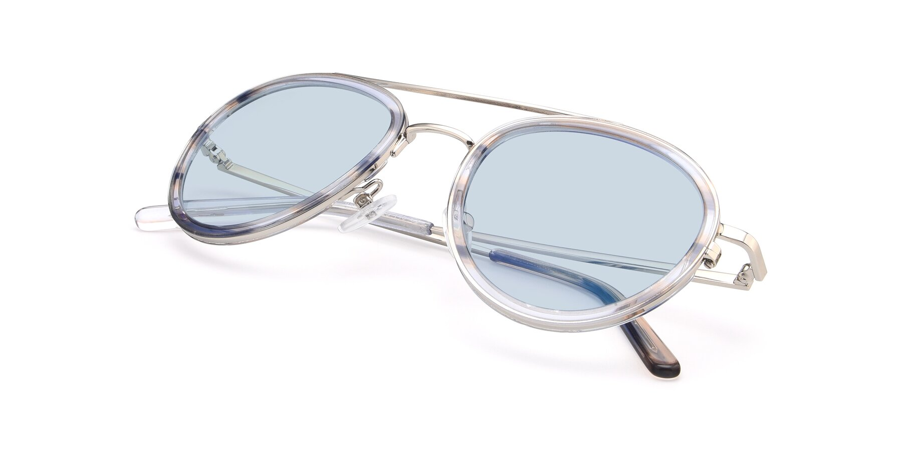 View of 9554 in Silver-Transparent with Light Blue Tinted Lenses