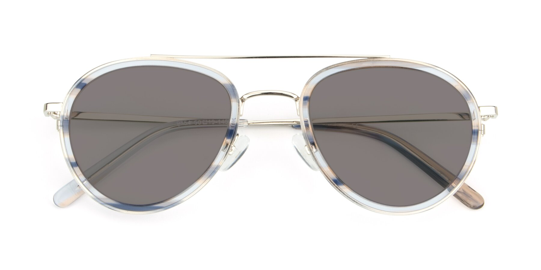 Folded Front of 9554 in Silver-Transparent with Medium Gray Tinted Lenses