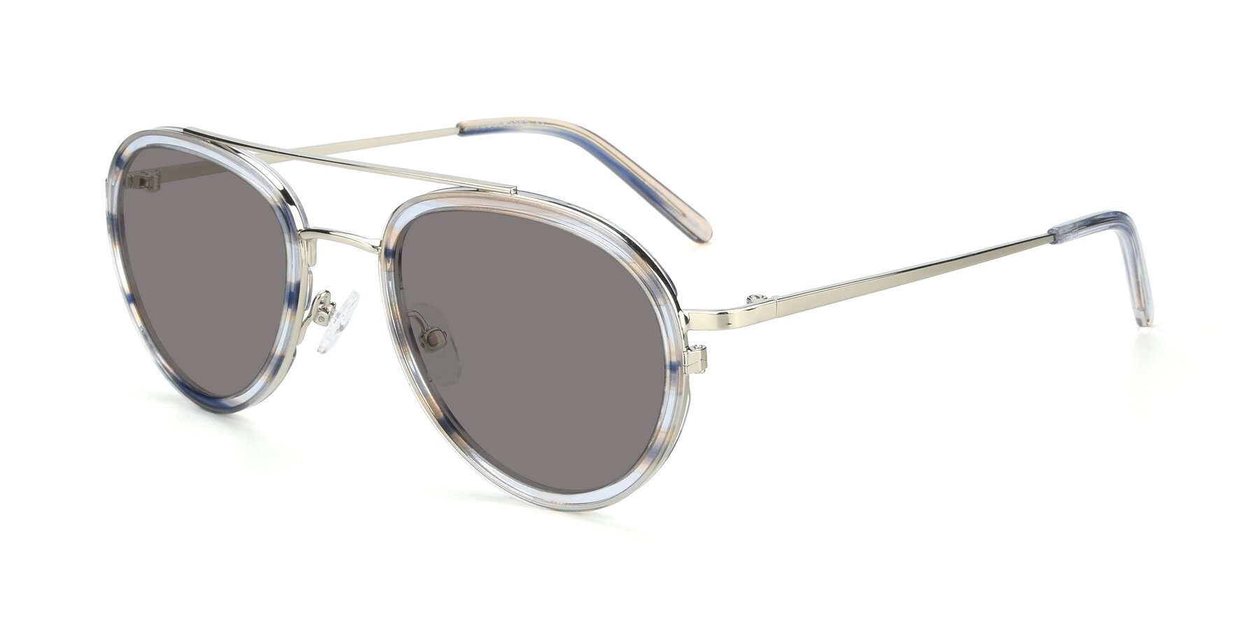 Angle of 9554 in Silver-Transparent with Medium Gray Tinted Lenses