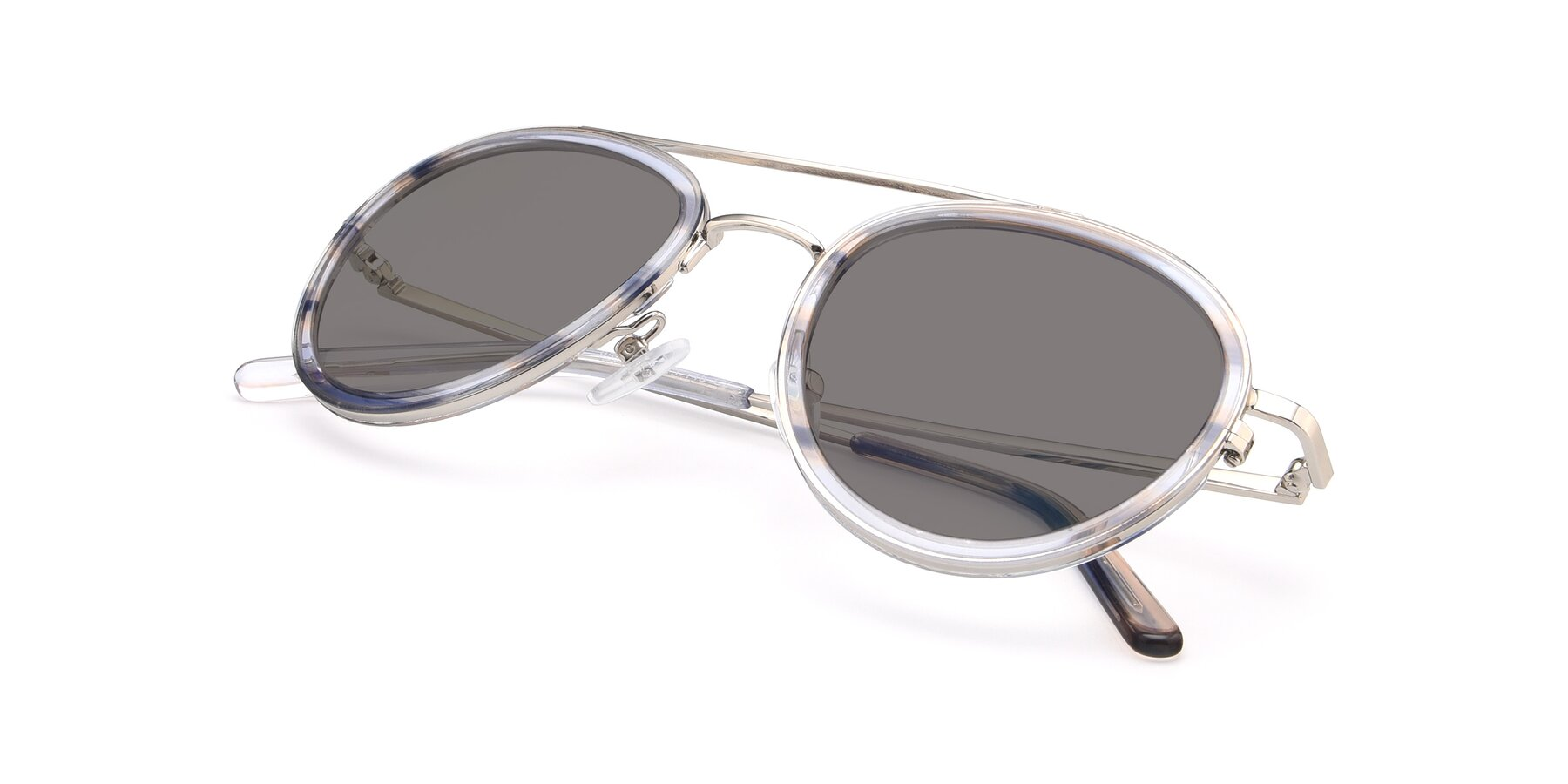 View of 9554 in Silver-Transparent with Medium Gray Tinted Lenses