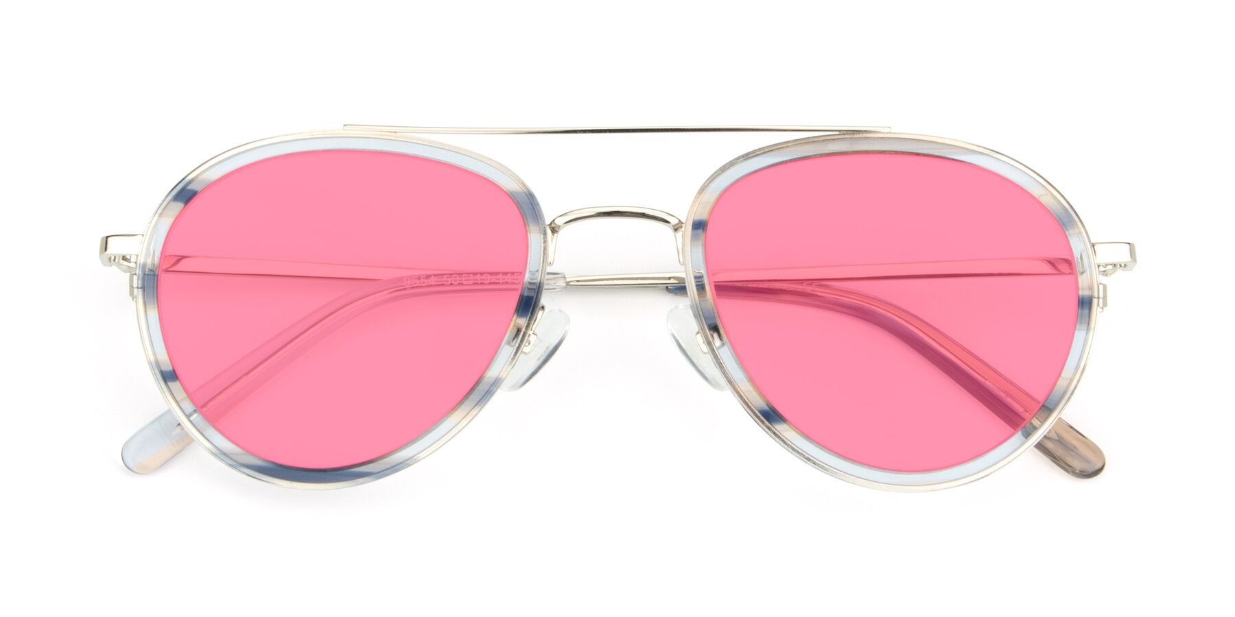 Folded Front of 9554 in Silver-Transparent with Pink Tinted Lenses