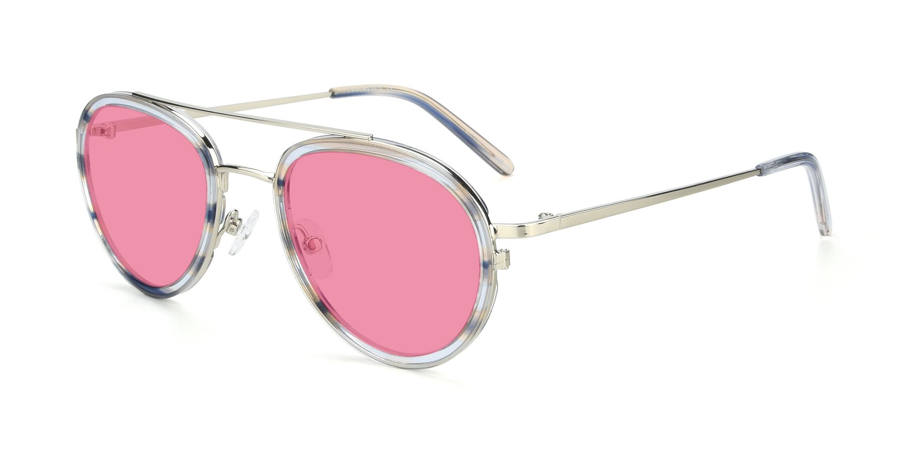 Angle of 9554 in Silver-Transparent with Pink Tinted Lenses