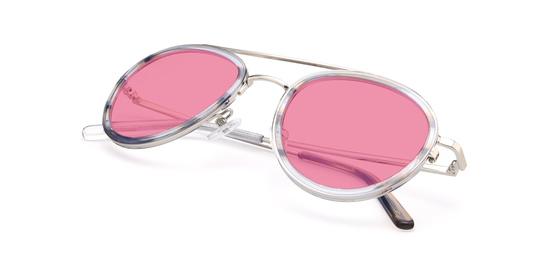 View of 9554 in Silver-Transparent with Pink Tinted Lenses