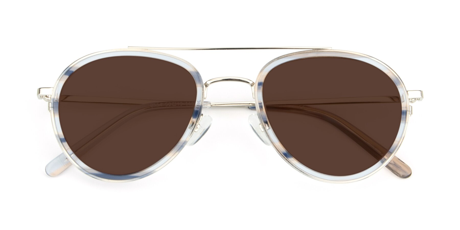 Folded Front of 9554 in Silver-Transparent with Brown Tinted Lenses