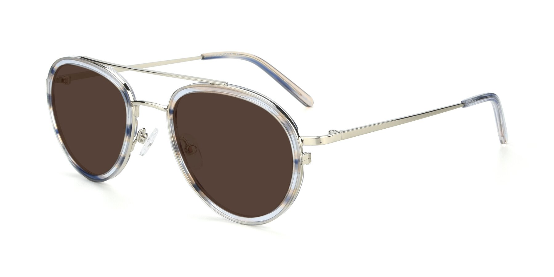 Angle of 9554 in Silver-Transparent with Brown Tinted Lenses