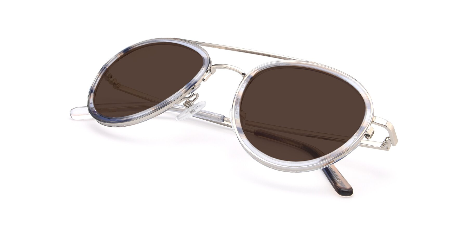 View of 9554 in Silver-Transparent with Brown Tinted Lenses