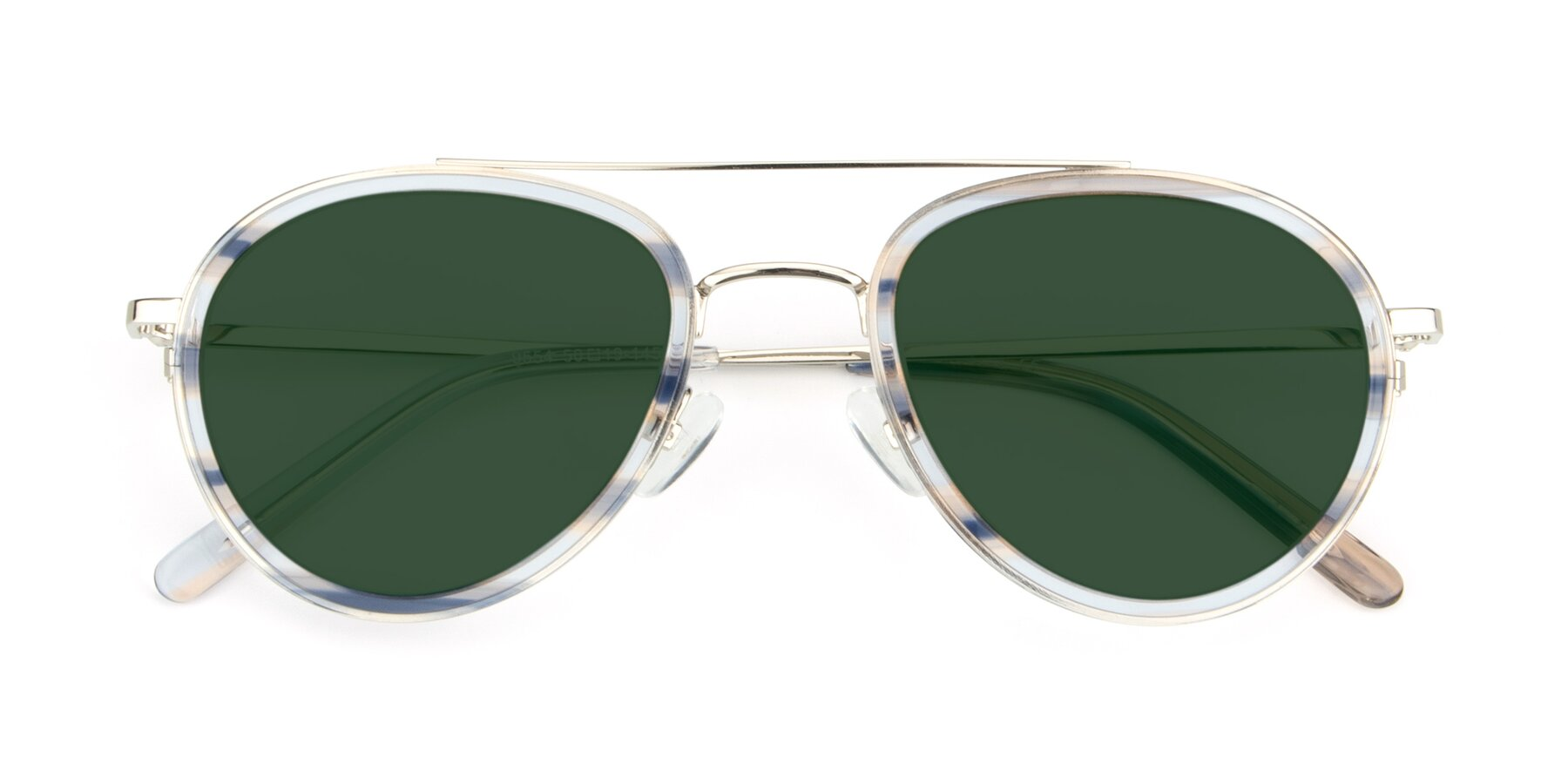 Folded Front of 9554 in Silver-Transparent with Green Tinted Lenses