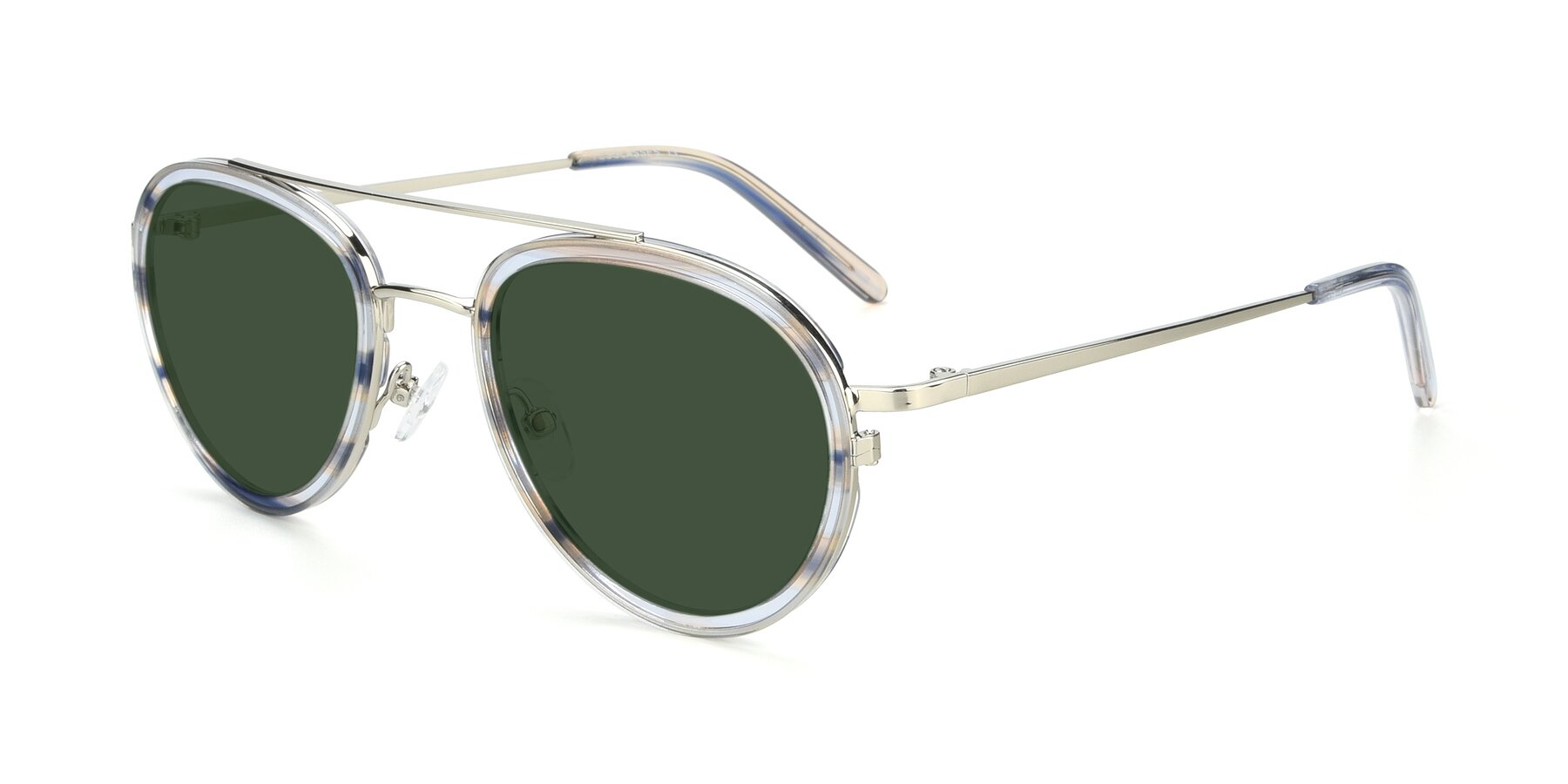 Angle of 9554 in Silver-Transparent with Green Tinted Lenses