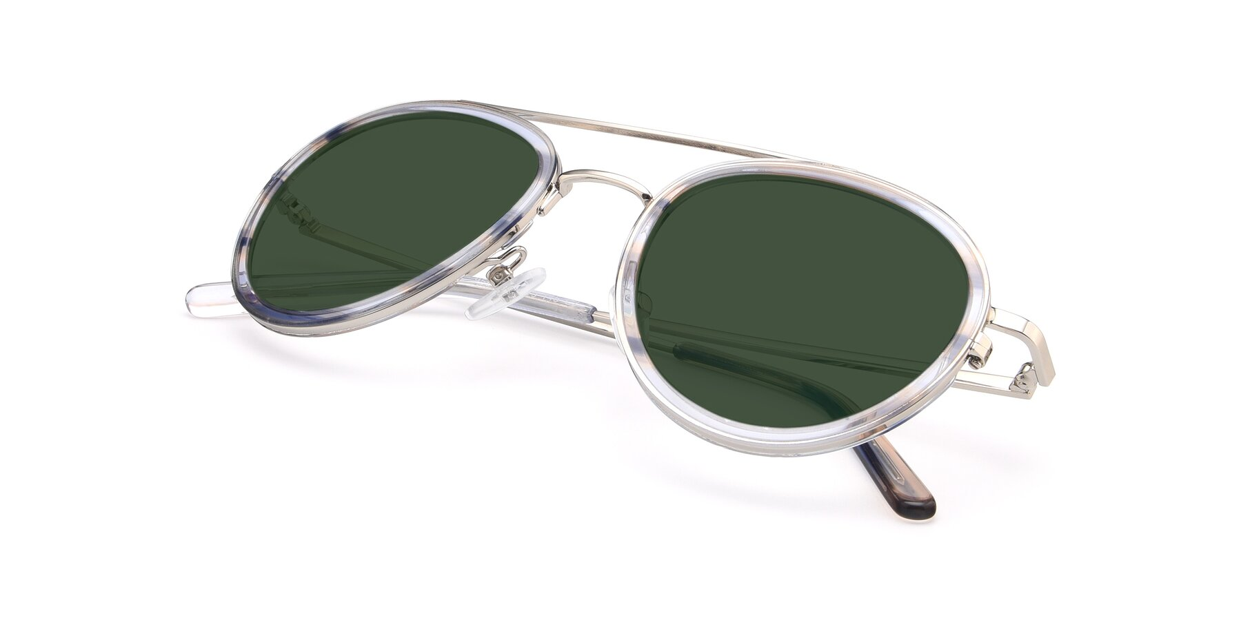 View of 9554 in Silver-Transparent with Green Tinted Lenses
