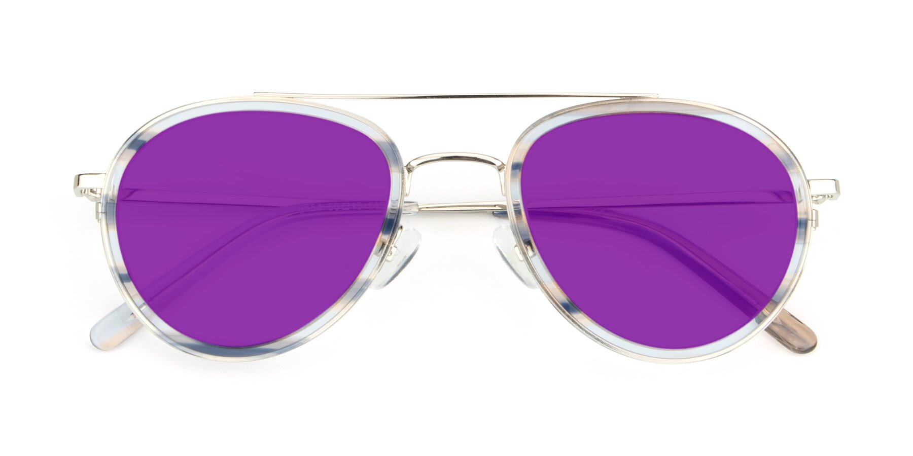 Folded Front of 9554 in Silver-Transparent with Purple Tinted Lenses