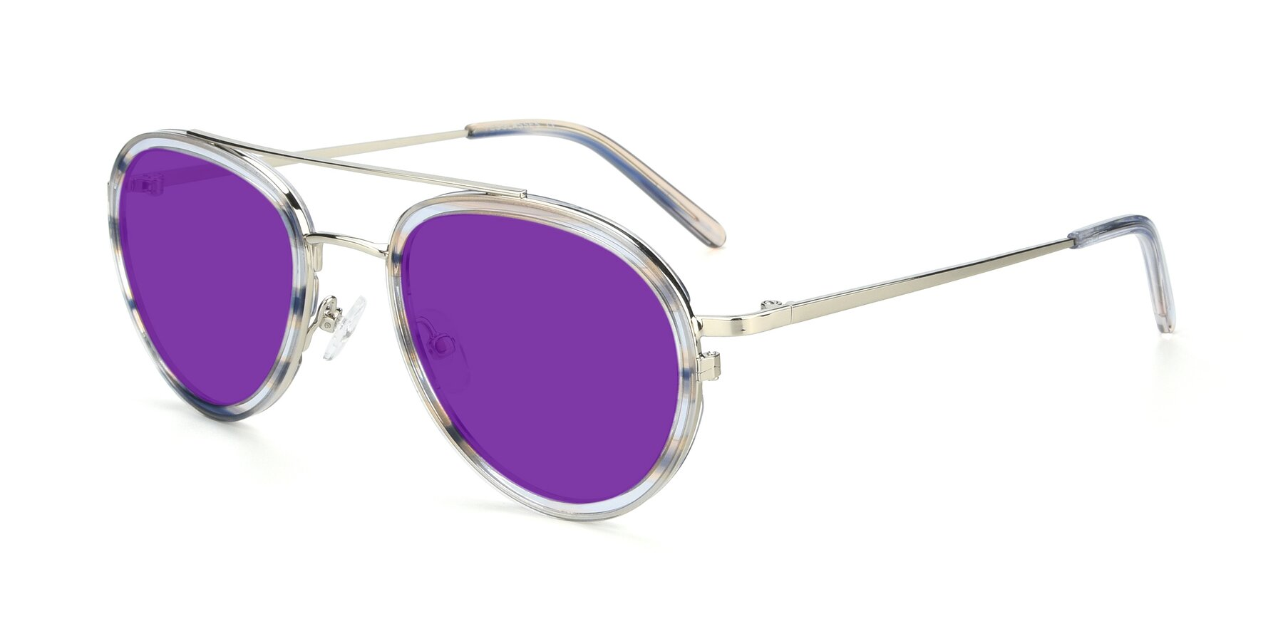 Angle of 9554 in Silver-Transparent with Purple Tinted Lenses
