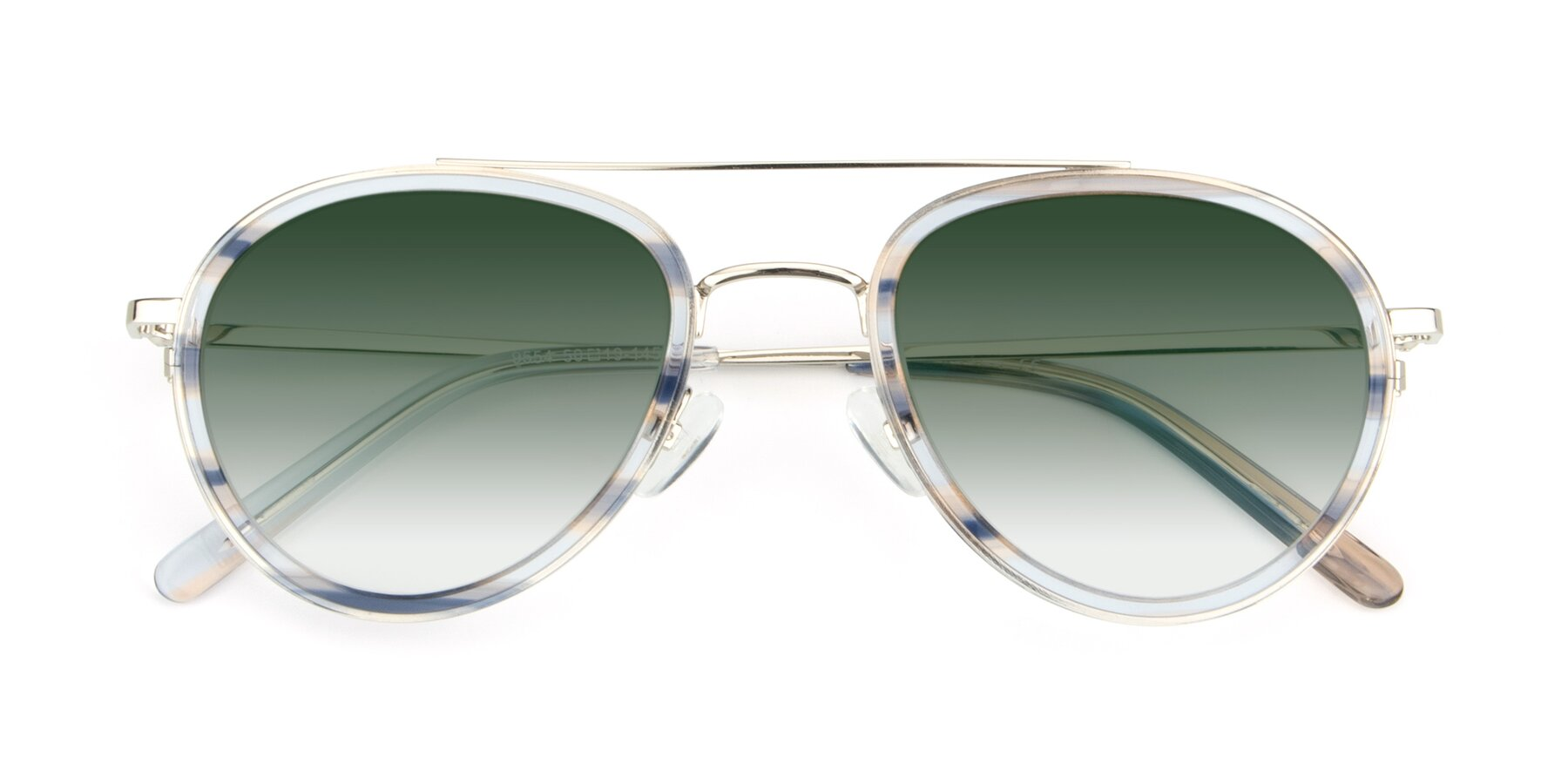 Folded Front of 9554 in Silver-Transparent with Green Gradient Lenses