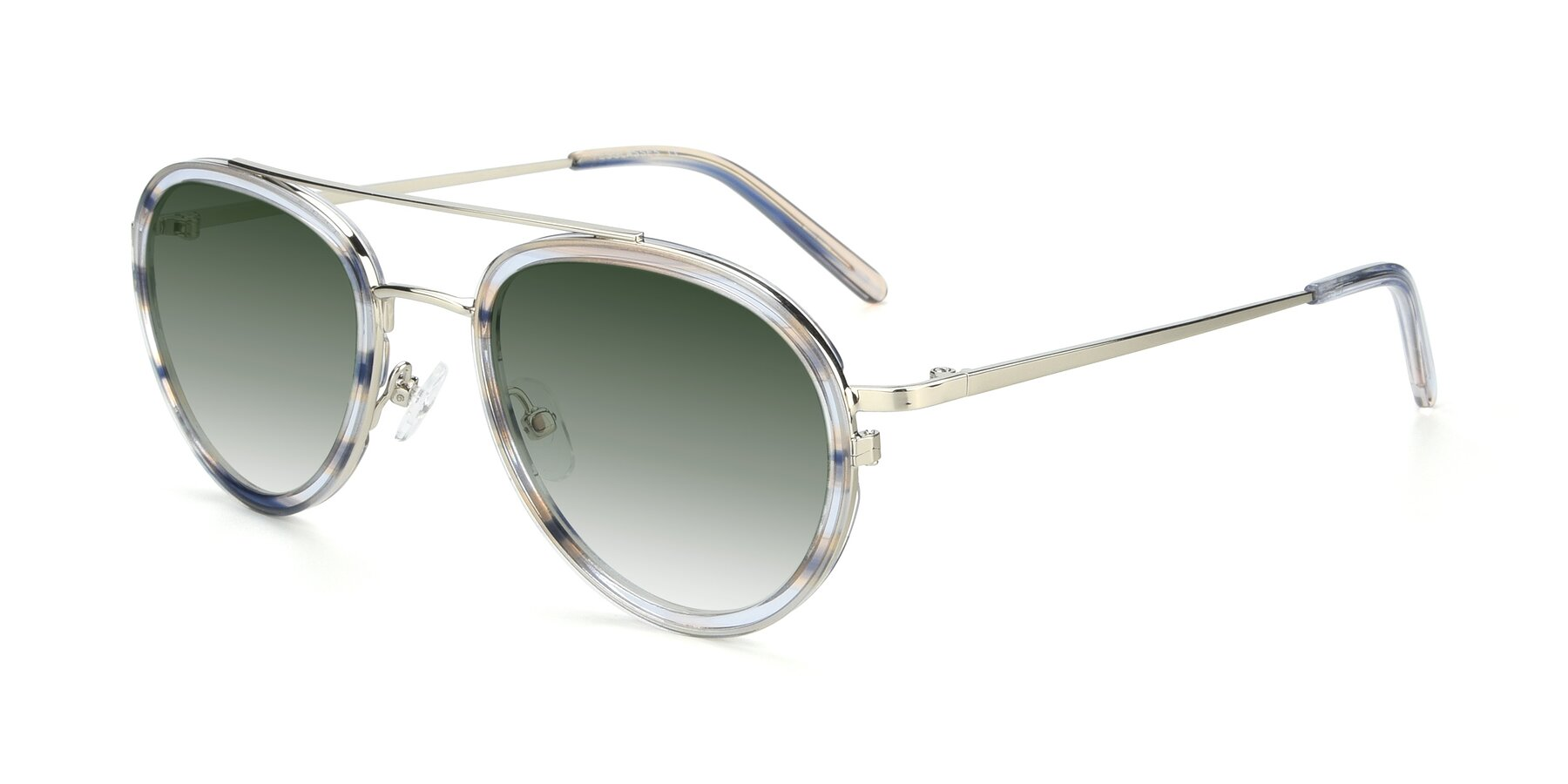 Angle of 9554 in Silver-Transparent with Green Gradient Lenses