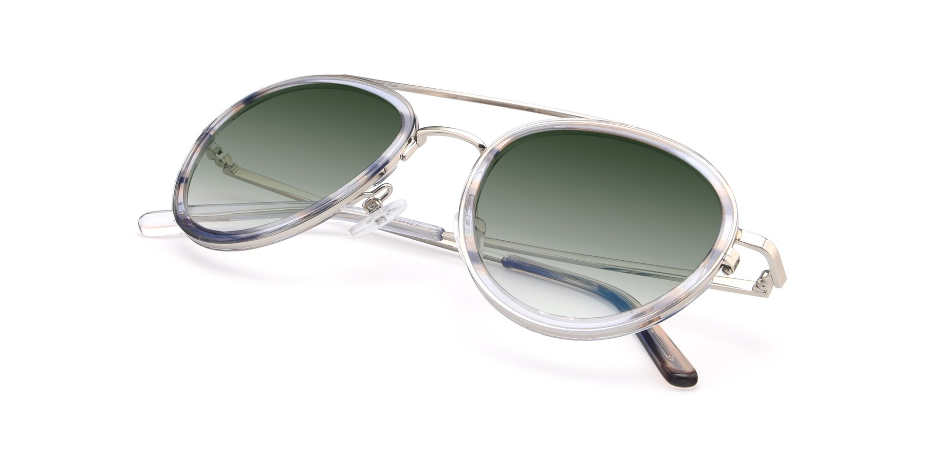View of 9554 in Silver-Transparent with Green Gradient Lenses