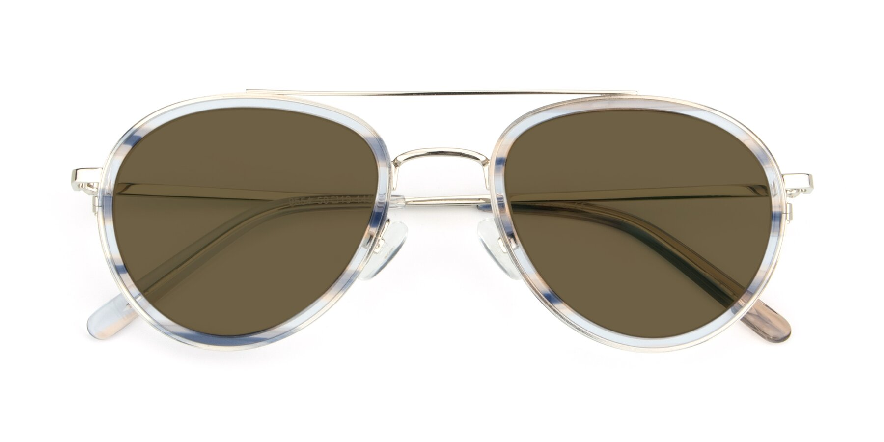 Folded Front of 9554 in Silver-Transparent with Brown Polarized Lenses