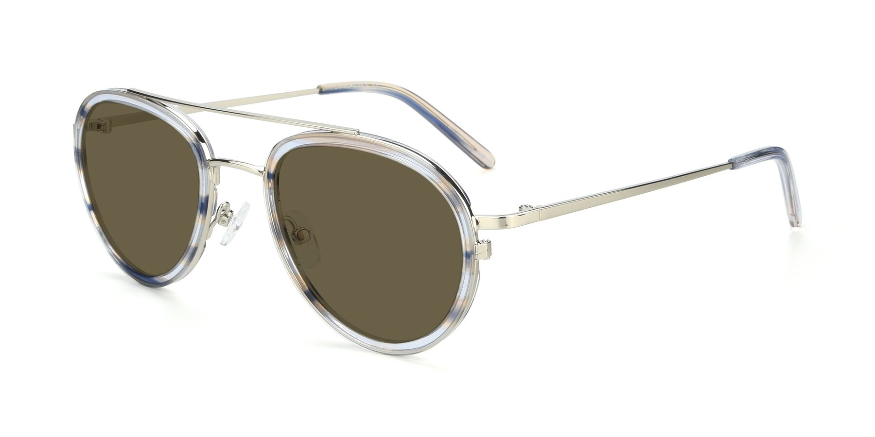Angle of 9554 in Silver-Transparent with Brown Polarized Lenses