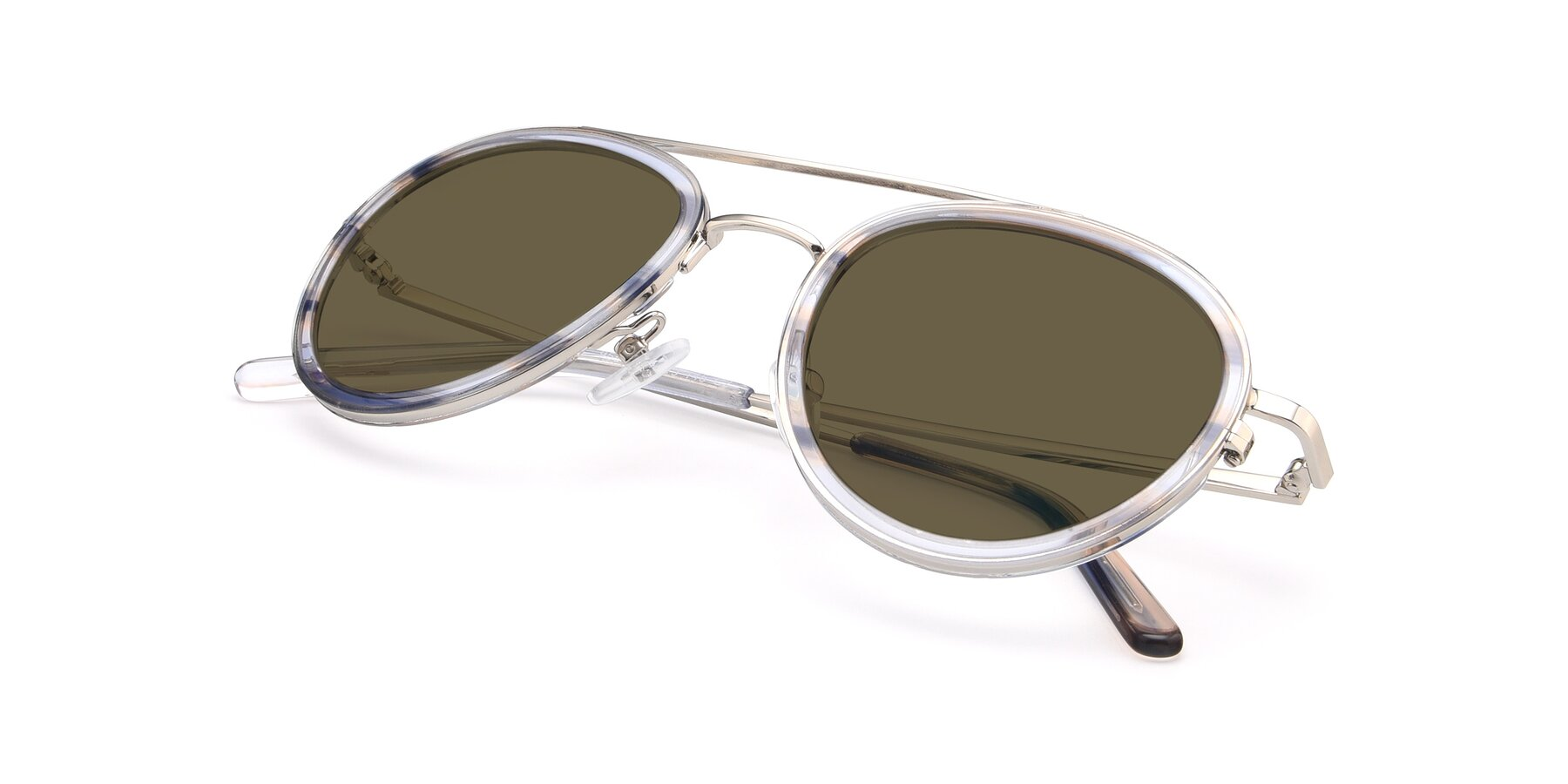 View of 9554 in Silver-Transparent with Brown Polarized Lenses