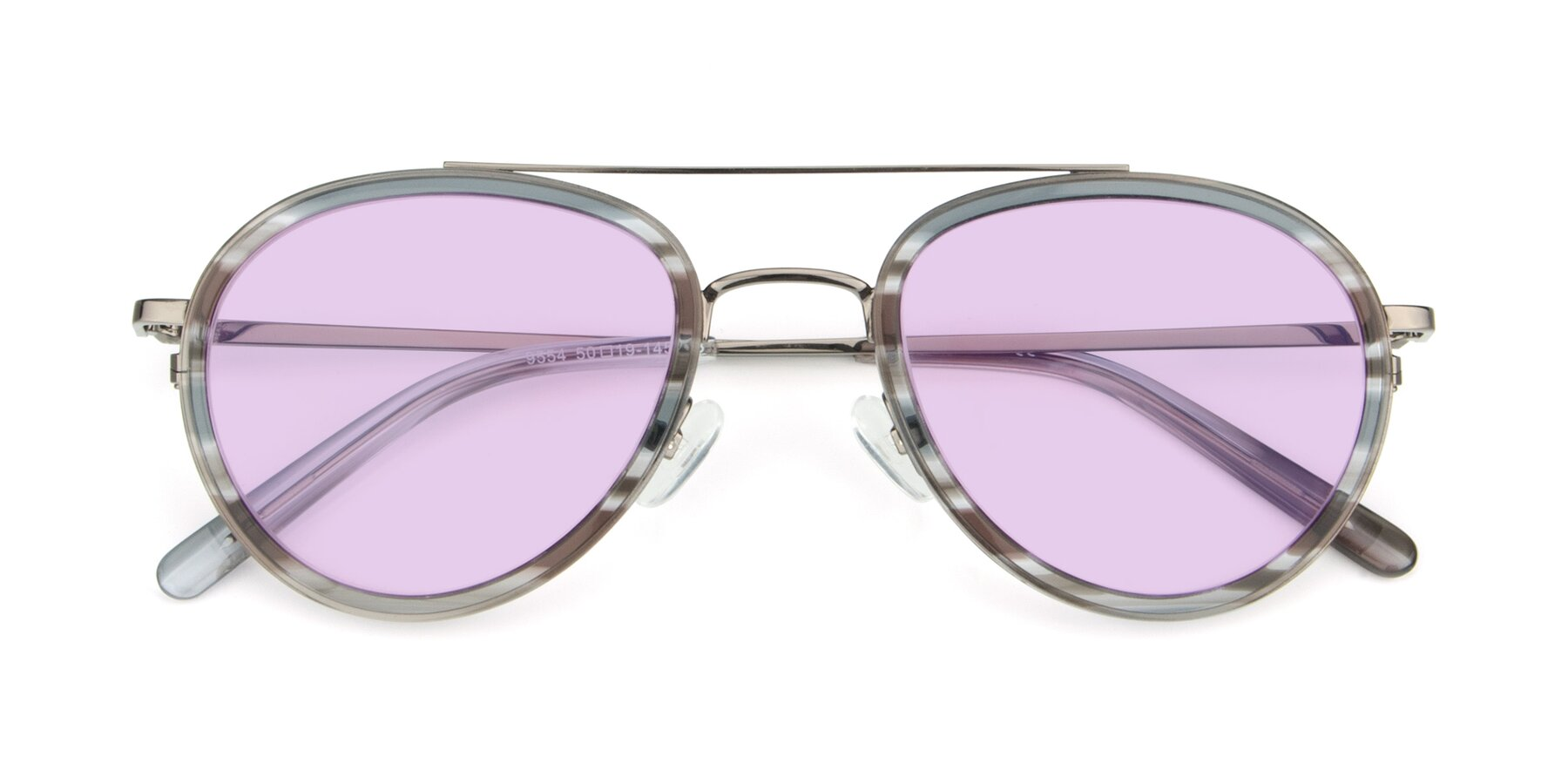 Folded Front of 9554 in Gun-Transparent with Light Purple Tinted Lenses