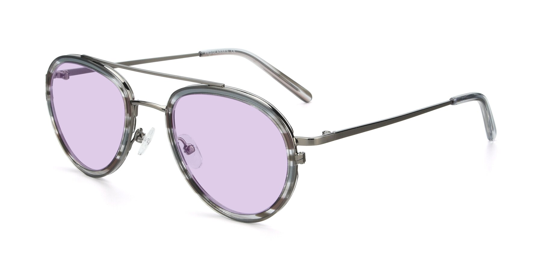 Angle of 9554 in Gun-Transparent with Light Purple Tinted Lenses