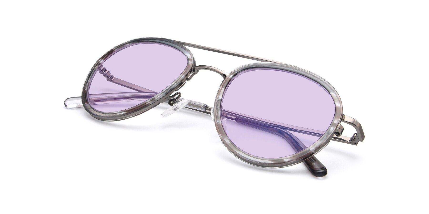 View of 9554 in Gun-Transparent with Light Purple Tinted Lenses