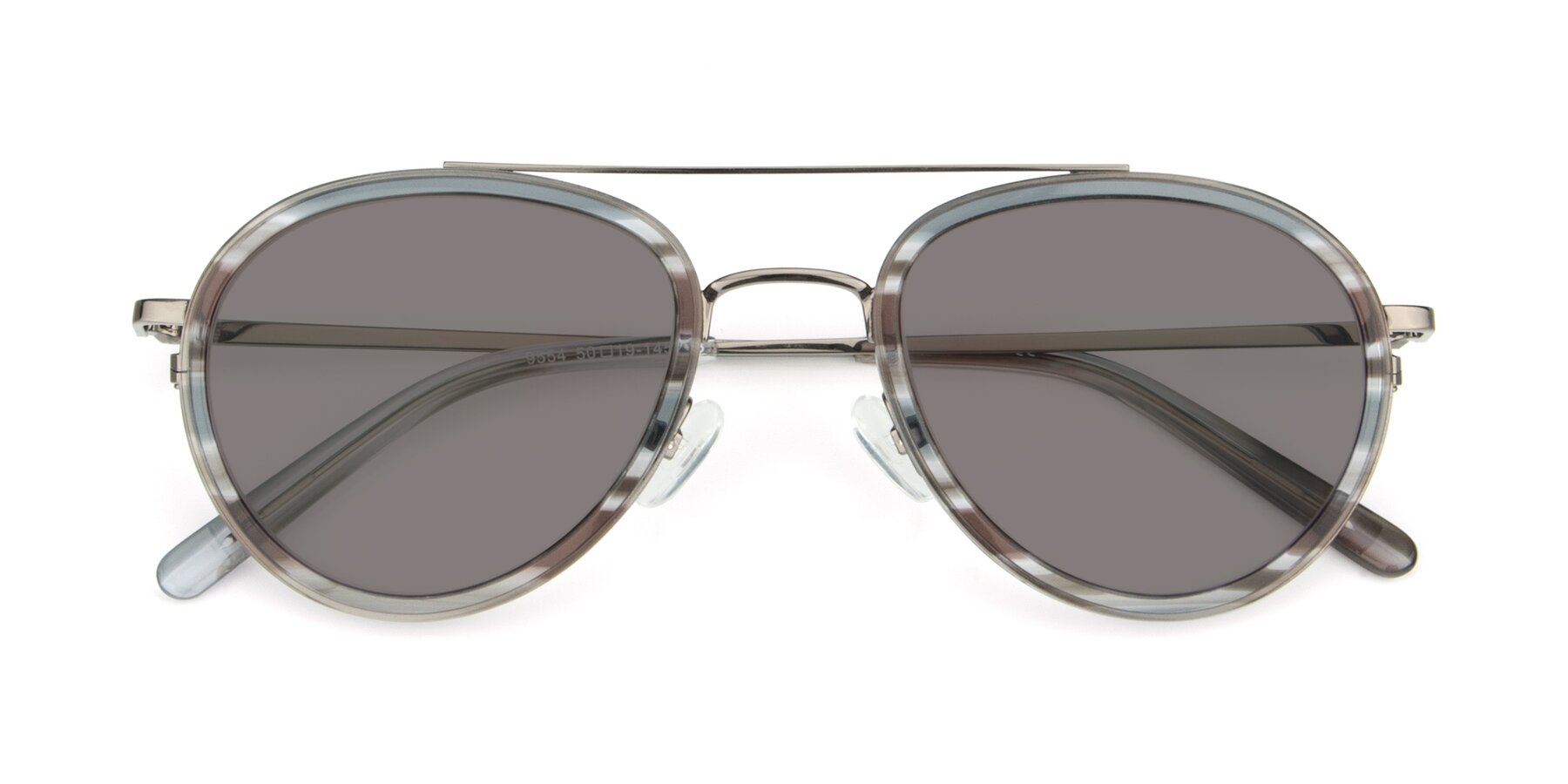 Folded Front of 9554 in Gun-Transparent with Medium Gray Tinted Lenses