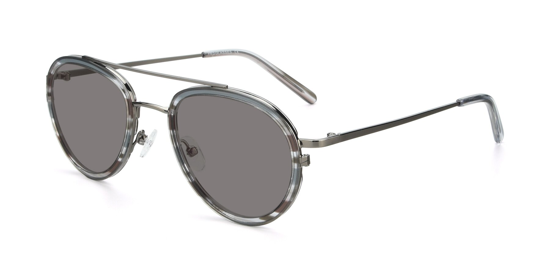 Angle of 9554 in Gun-Transparent with Medium Gray Tinted Lenses