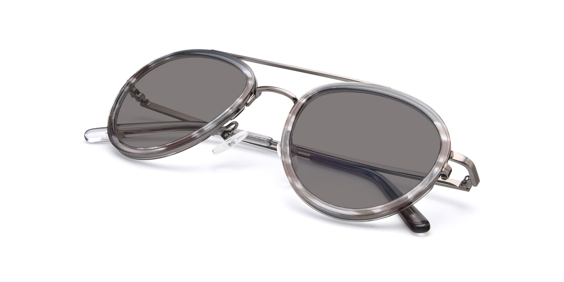 View of 9554 in Gun-Transparent with Medium Gray Tinted Lenses