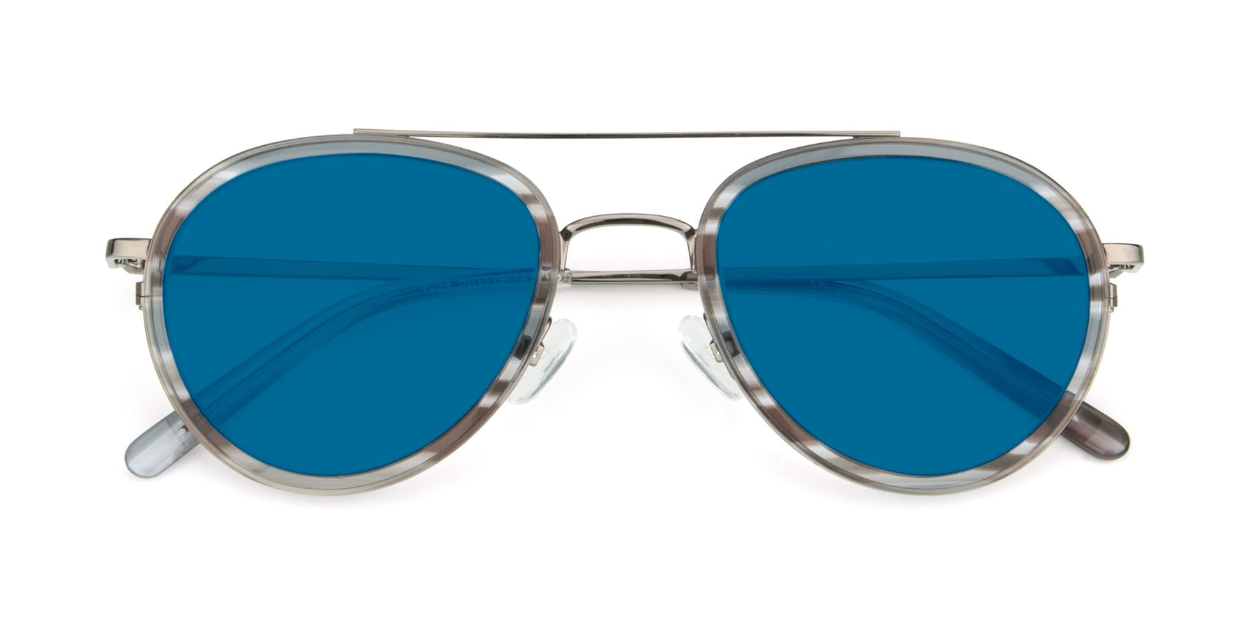 Folded Front of 9554 in Gun-Transparent with Blue Tinted Lenses
