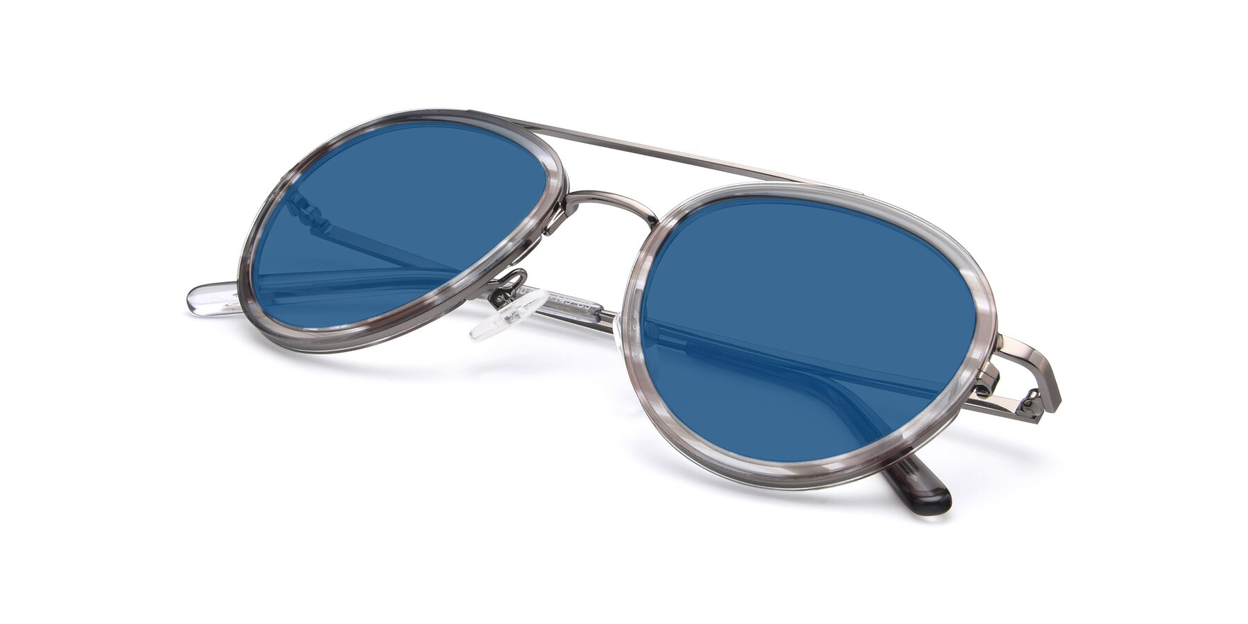 View of 9554 in Gun-Transparent with Blue Tinted Lenses