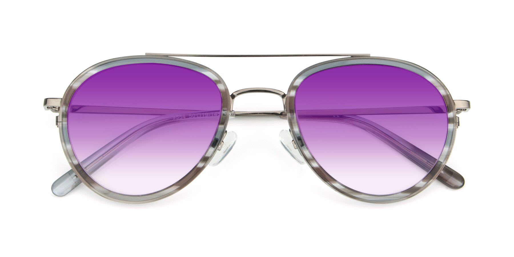 Folded Front of 9554 in Gun-Transparent with Purple Gradient Lenses