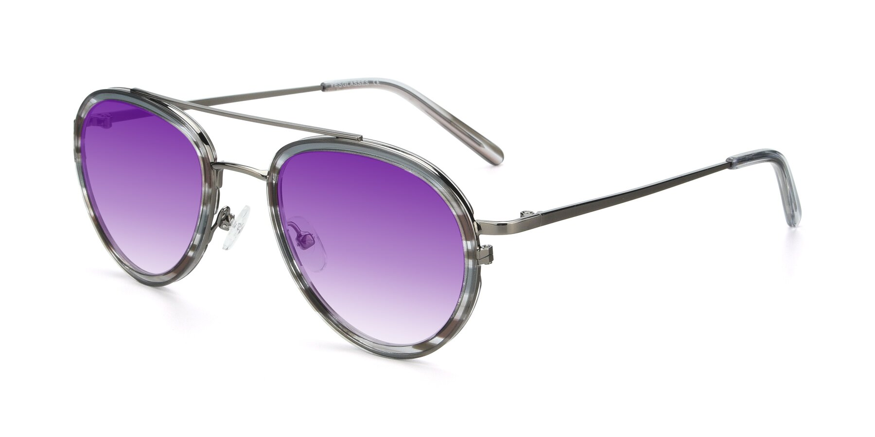 Angle of 9554 in Gun-Transparent with Purple Gradient Lenses