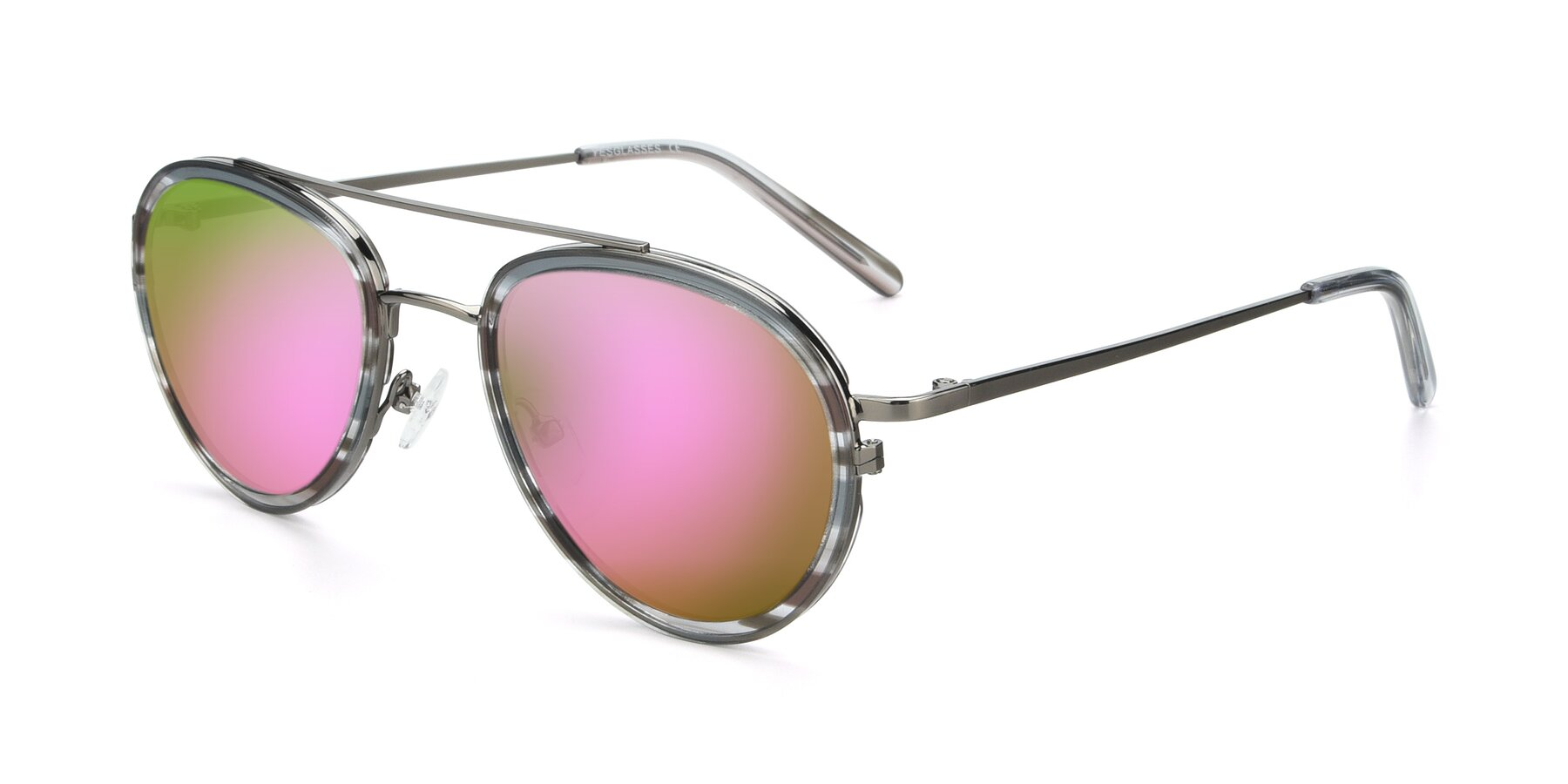 Angle of 9554 in Gun-Transparent with Pink Mirrored Lenses