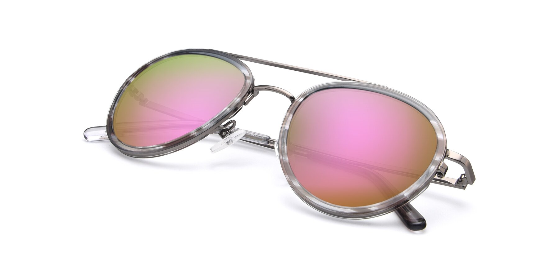 View of 9554 in Gun-Transparent with Pink Mirrored Lenses
