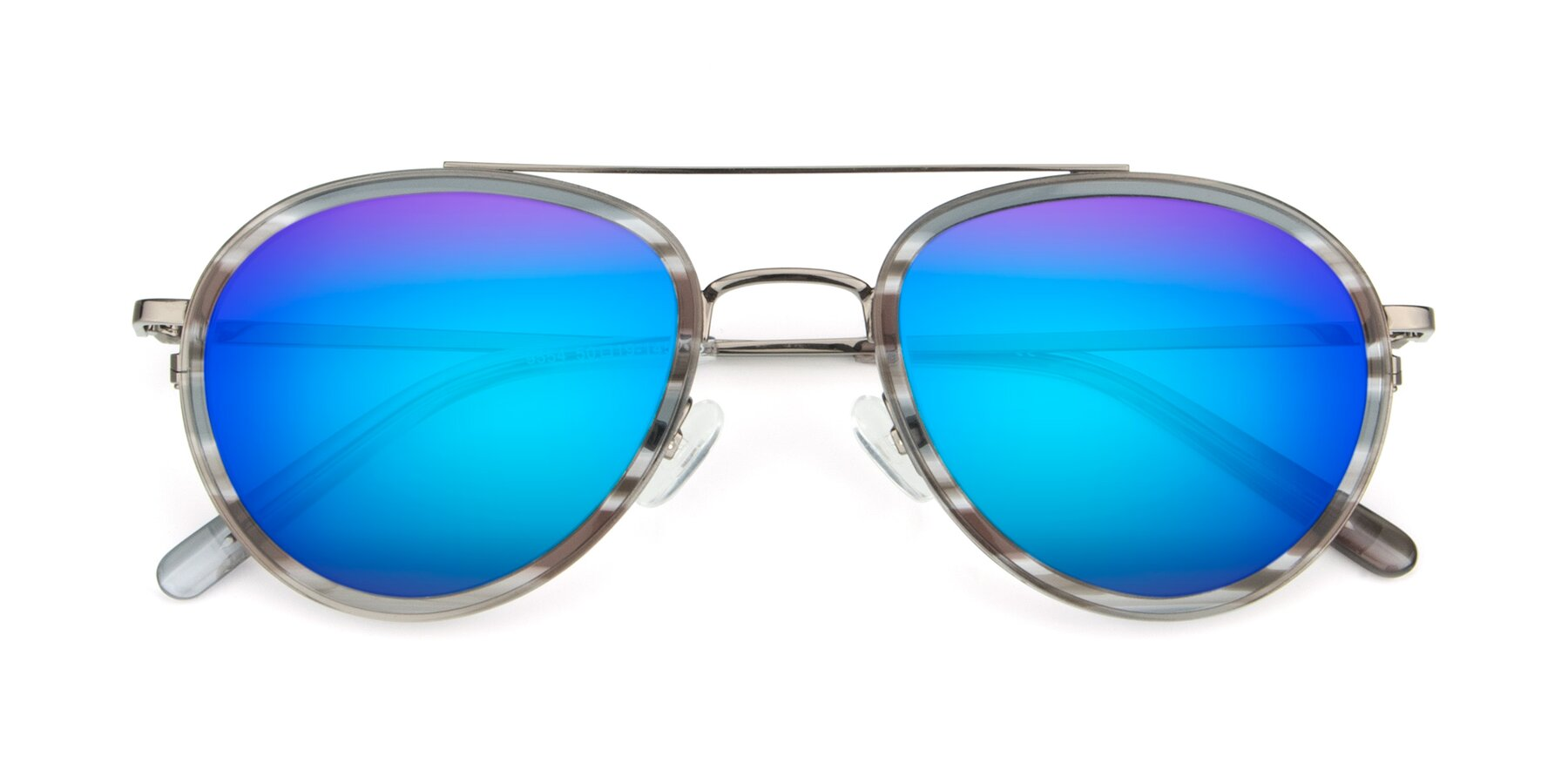 Folded Front of 9554 in Gun-Transparent with Blue Mirrored Lenses