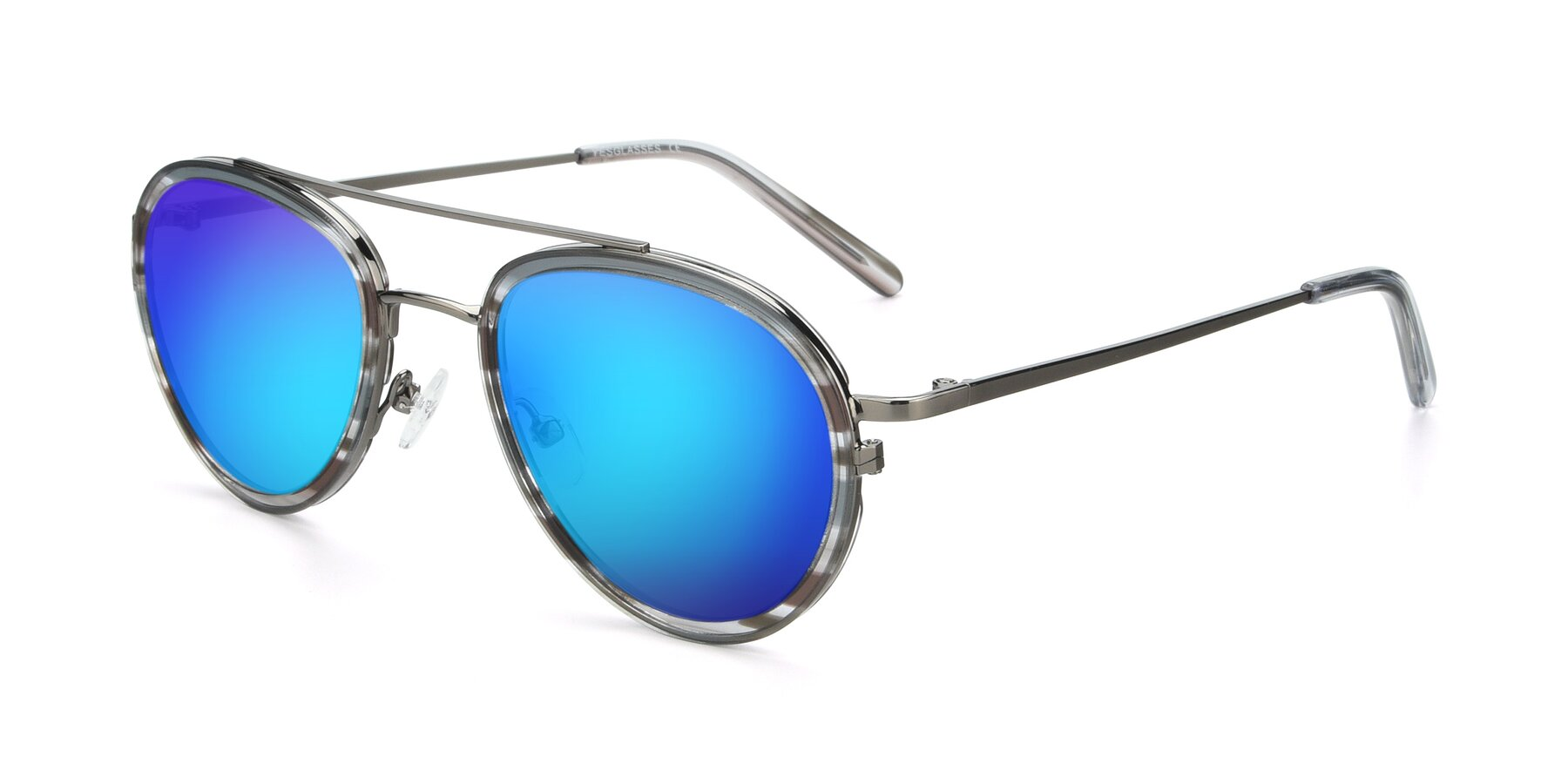 Angle of 9554 in Gun-Transparent with Blue Mirrored Lenses