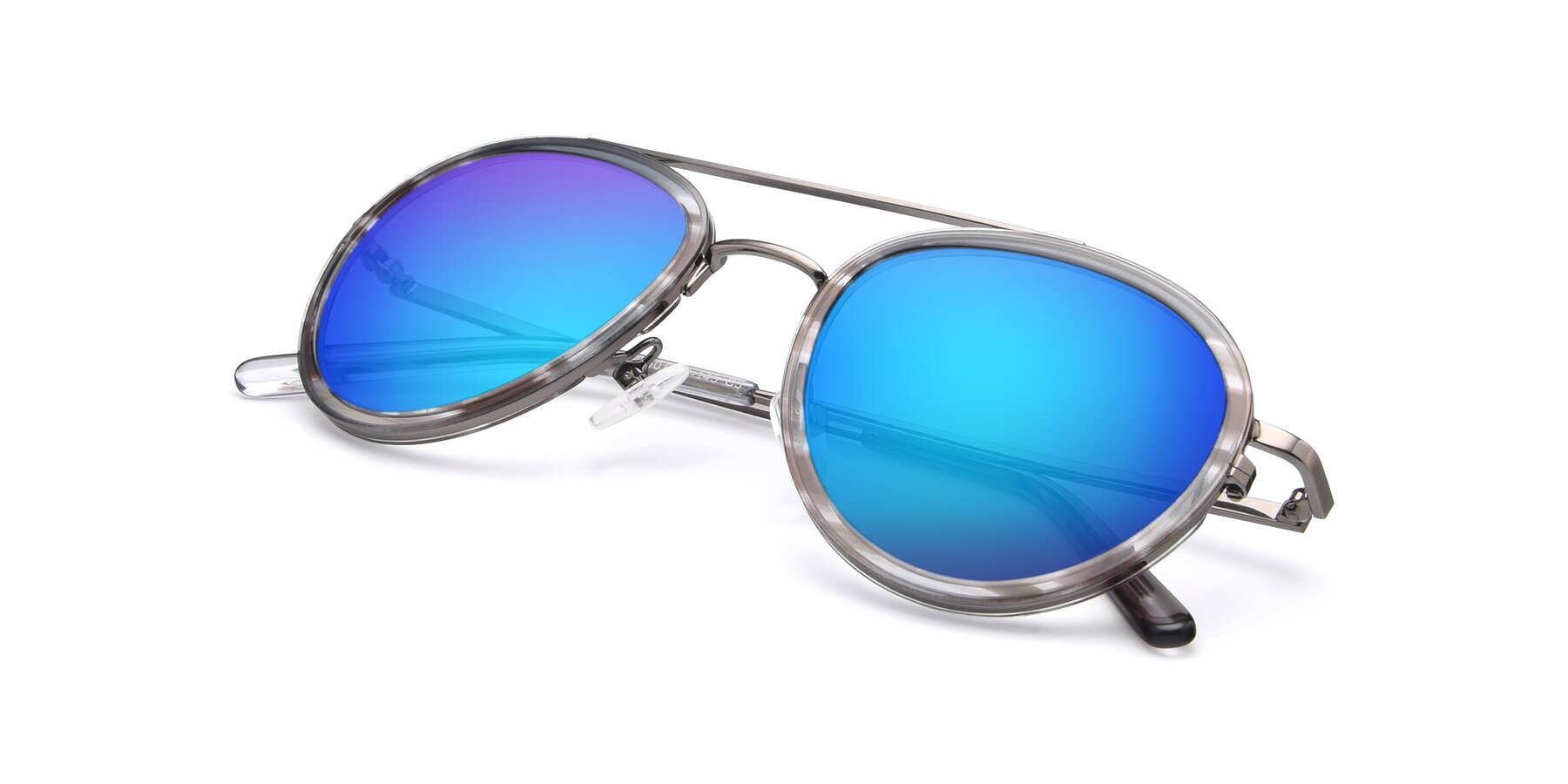 View of 9554 in Gun-Transparent with Blue Mirrored Lenses