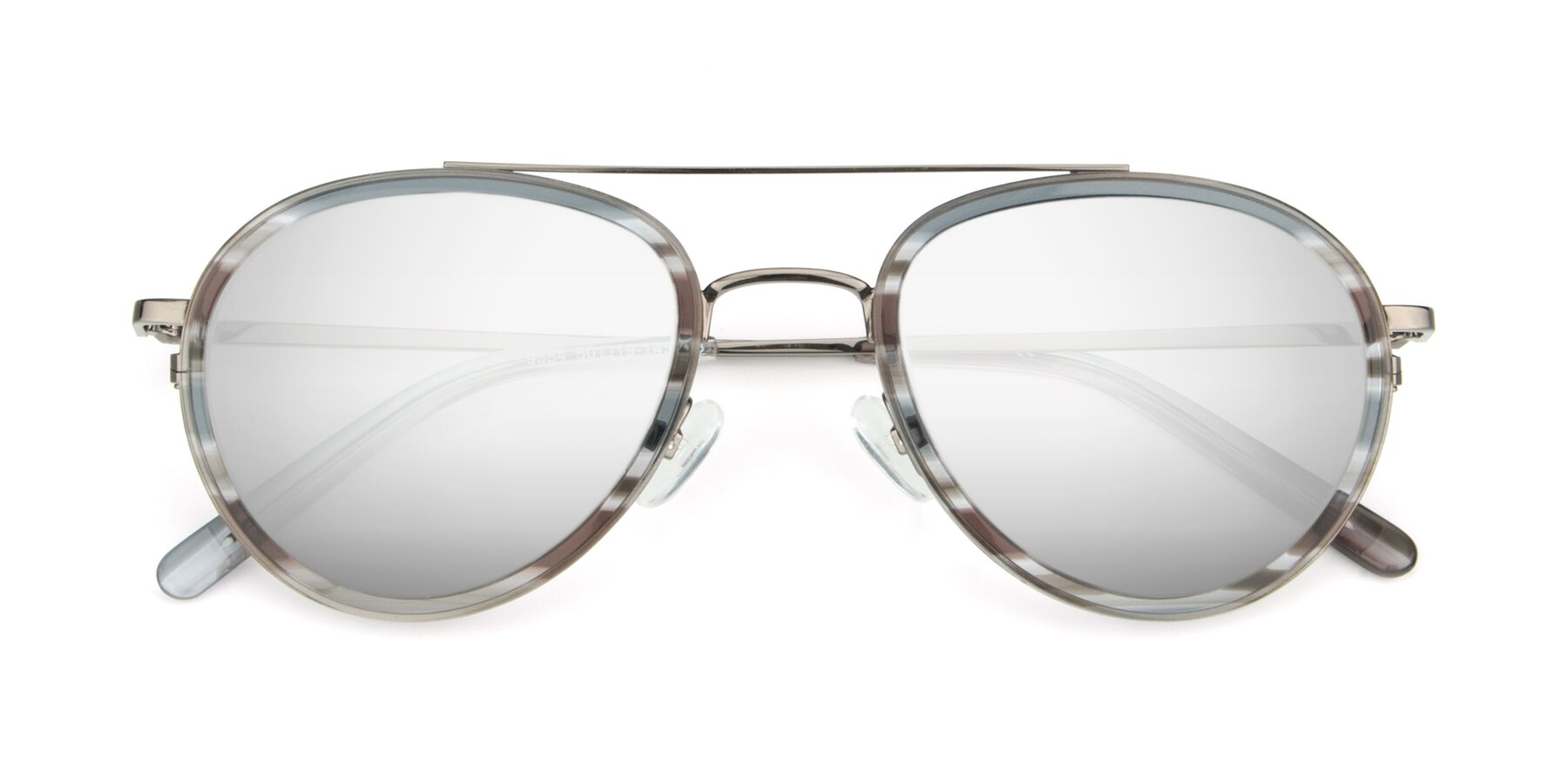 Folded Front of 9554 in Gun-Transparent with Silver Mirrored Lenses